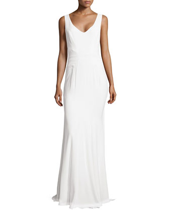 Sleeveless Peplum Gown with Train, Ivory