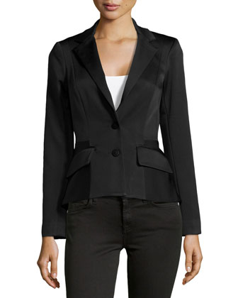 Ribbed Two-Button Jacket, Midnight