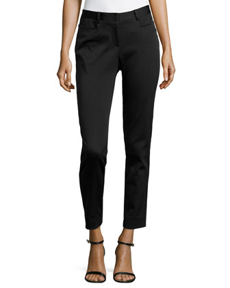 Faille Skinny Ankle Pants, Midnight