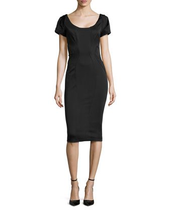 Short-Sleeve Scoop-Neck Cocktail Sheath Dress, Midnight