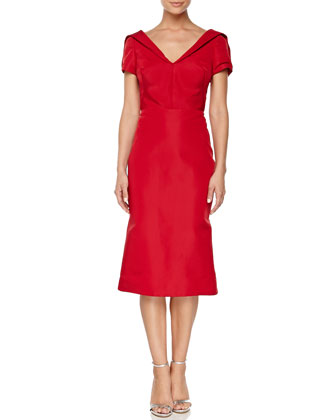 Short-Sleeve Silk Duchesse Dress, Grenadine