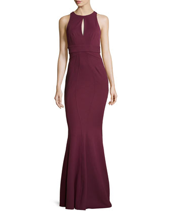 Halter Keyhole-Front Gown, Red Wine