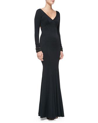 Long-Sleeve Beaded-Cuff Mermaid Gown