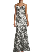 Spaghetti-Strap Sequined Mermaid Gown