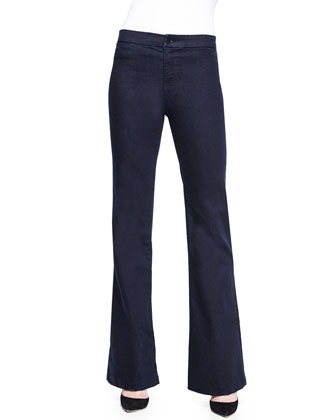 Tailored High-Rise Flared Denim Trouser
