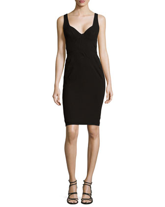 Sleeveless Sweetheart Cocktail Dress, Black