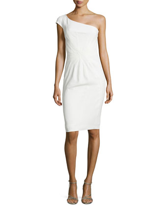 One-Shoulder Cap-Sleeve Dress, Porcelain