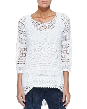 Delaney Crochet 3/4-Sleeve Top, White