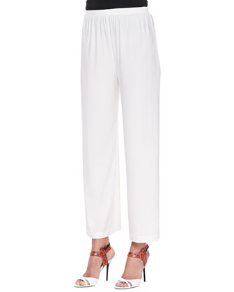 3/4-Sleeve Asymmetric Top & Wide-Leg Ankle Pants, Petite