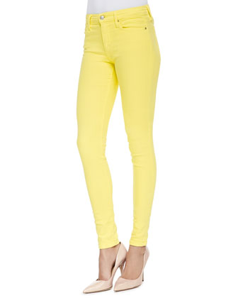 Mid-Rise Super Skinny Jeans, Lemon