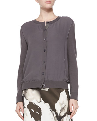 Georgette Overlay Knit Cardigan, Granite