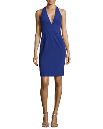 Halter V-Neck Dress, Indigo