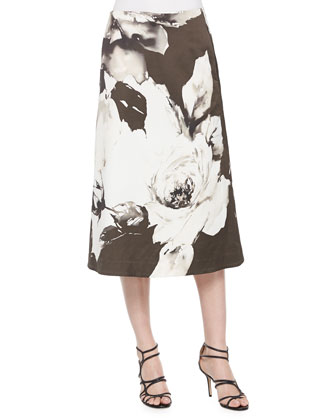 Georgette Knit Cardigan, Zarita Vintage Roses Printed Tea-Length Skirt & ...