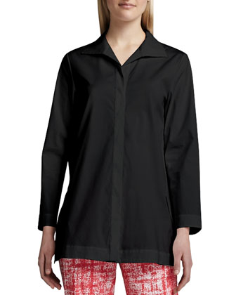 Marla Placket-Front Blouse, Black
