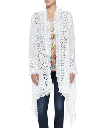 Stella Crochet Long Jacket & Dreamer Floral-Print Georgette Top