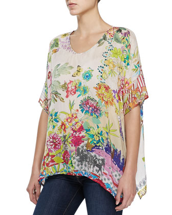 Stella Crochet Long Jacket & Dreamer Floral-Print Georgette Top, Women's