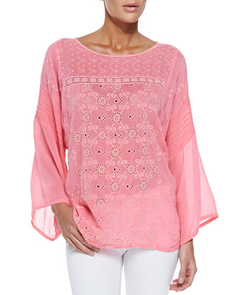 Bell-Sleeve Eyelet Blouse, Women's