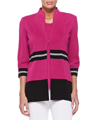 Striped-Trim 3/4-Sleeve Jacket, Women's