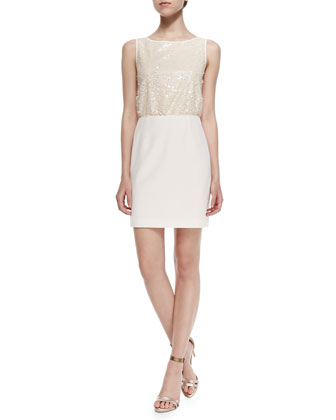 Sleeveless Sequined-Front Fitted Dress