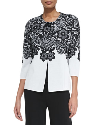 3/4-Sleeve Lace-Print Jacket, Scoop-Neck Knit Tank & Washable Wide-Leg Pants