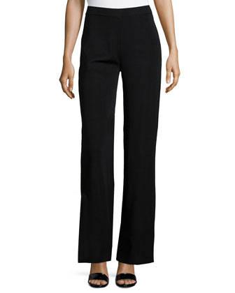 Washable Wide-Leg Pants, Black, Petite