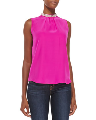 Ophelia Jewel-Neck Sleeveless Blouse