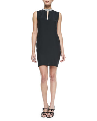 Ophelia Jewel-Neck Dress, Black