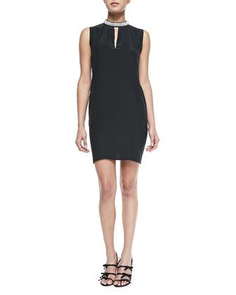 Ophelia Jewel-Neck Dress, Black