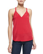 Sleeveless V-Neck Cami W/ Bow Back