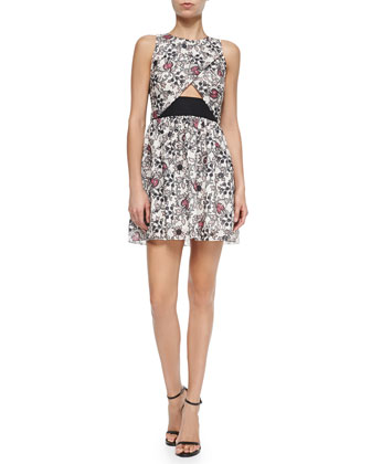 Scroll-Print Dress W/ CrissCross Front