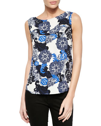 Anna Lace-Print Cap-Sleeve Blouse