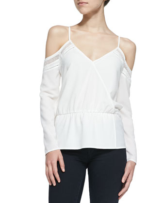 Chloe Open-Shoulder Perforated Blouse, White