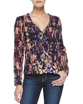 Alyssa Graphic Cobra-Print Wrap Blouse