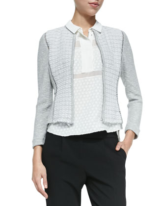 Mixed-Pattern Fitted Tweed Jacket, Solid/Dotted/Sheer Sleeveless Blouse & ...