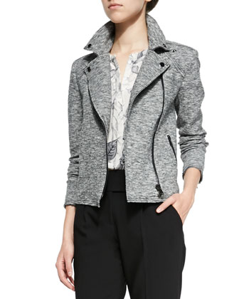 Stretch Biker Asymmetric-Zip Jacket