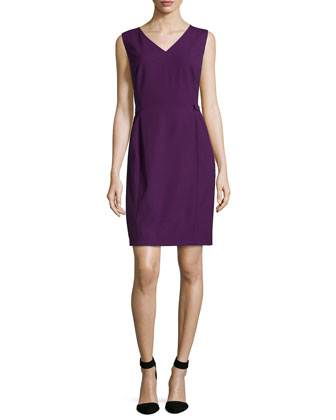 Naya Tabbed-Sides Sleeveless Dress, Eggplant