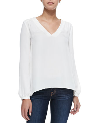 Stella Long-Sleeve Top with Pleated Back