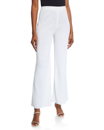 Washable Wide-Leg Pants, White