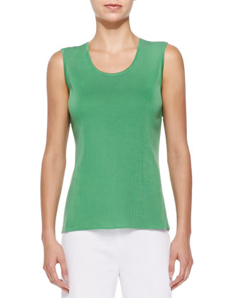 Scoop-Neck Knit Tank, Green