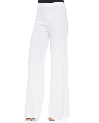 Washable Wide-Leg Pants, White, Petite