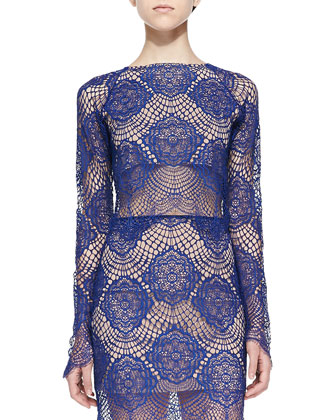 Grace Long-Sleeve Lace Crop Top, Sapphire