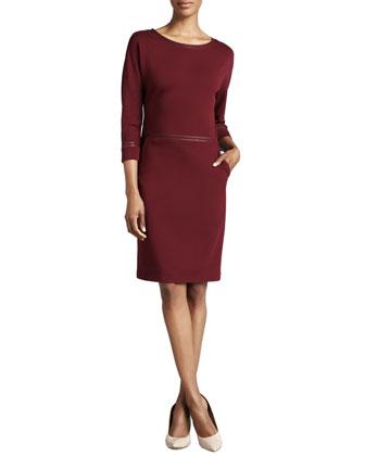 Three-Quarter-Sleeve Leather-Trim Dress