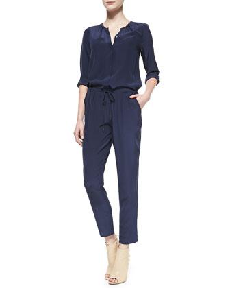 Keyaan Tab-Sleeve Silk Jumpsuit
