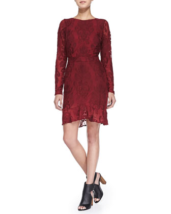 A Night to Remember Long-Sleeve Baroque-Print Dress