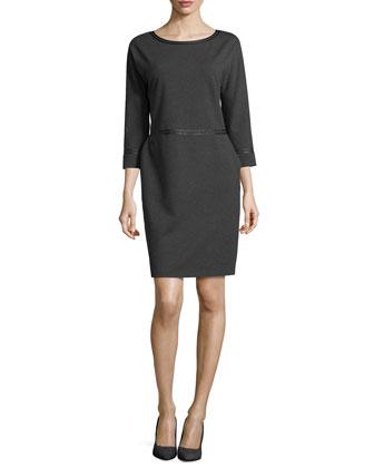 Three-Quarter-Sleeve Leather-Trim Dress, Smoke