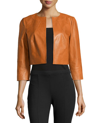 3/4-Sleeve Cropped Lambskin Jacket