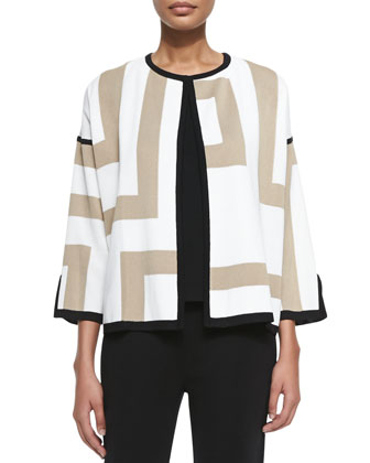 New Geometric 3/4-Sleeve Jacket, Petite
