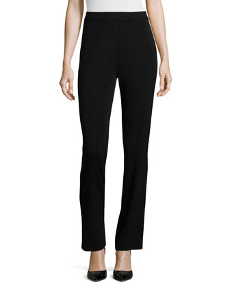 Boot-Cut Knit Pants, Black, Women's