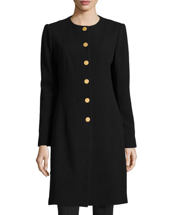 Roland Long Button-Front Jacket, Black