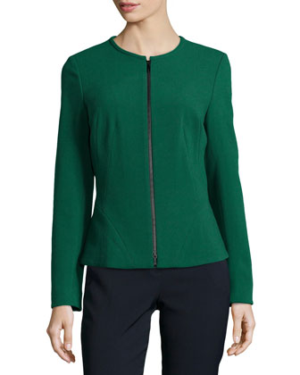 Revina Zip-Front Jacket, Emerald